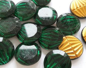 2 glass jewels, Ø18mm, green, round