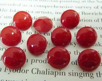 6 glass jewels, Ø11mm, rivoli, opaque red, round