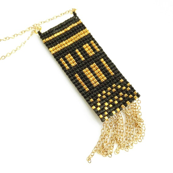 Tassel Necklace, Black and Gold, Geometric Necklace, Art Deco Necklace, Bohemian Necklace, Luxe, OOAK, Long Necklace, Egyptian Style