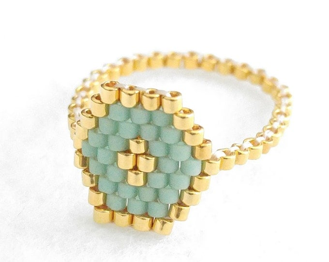 Hexagon Mint Ring, Hexagon Ring, Geometric Ring, Beaded Ring, Mint and Gold, Skinny Ring, Stacking Ring, Spring Colors, Modern, Romantic