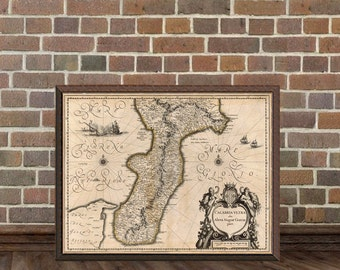 Antique map of Calabria  - Fine print