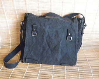 Vintage Faded Black Canvas Shoulder Strap Messenger Bag