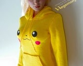 1/6th scale Pokemon Pikachu inspired yellow hoodie / sweater for: female action figures and fashion dolls