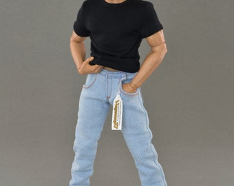 1/6th scale light blue jeans pants / trousers for 12 inch action figures