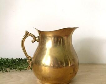 Vintage Solid Brass Water Pitcher / Planter / Pot