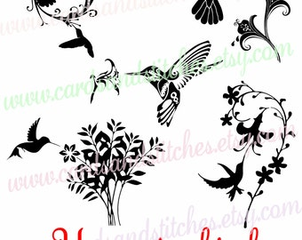 Hummingbirds SVG - Hummingbird with Flowers SVG - Digital Cutting File - Graphic Design - Instant Download - Svg, Dxf, Jpg, Eps, Png