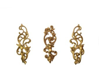 Gold Wall Sconces Gold Candle Holders Syroco Wall Sconces Hollywood Regency Wall Sconces Set of 3