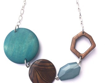 Chunky Teal Necklace - Perfect Gift for her - Geometric Jewelry - Faceted Bead Necklace - Chunky Bead Necklace - Chunky Wood Bead Necklace