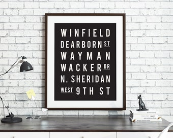Custom Subway Art Print, Street Names, Favorite Cities Places, Subway Art Sign, Travel Gift