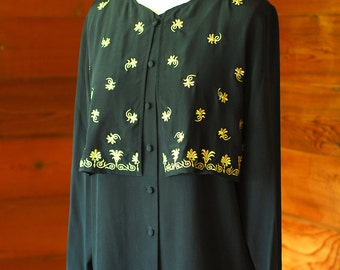 vintage Diane von Fürstenberg black embroidered silk blouse / size small medium