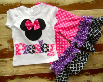 Pink & Purple...Disney Outfit...Minnie Top with Double Ruffle Pants - 0-3m to 8 years... Long or Short Sleeved