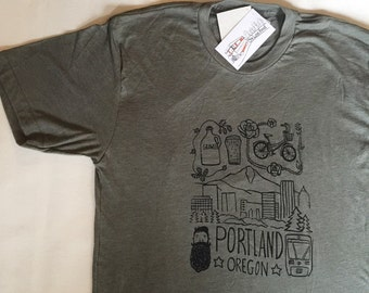 Portland Oregon - Mens/Unisex T Shirt - S M L XL - Hand Screen Printed - Bikes Beer Beards