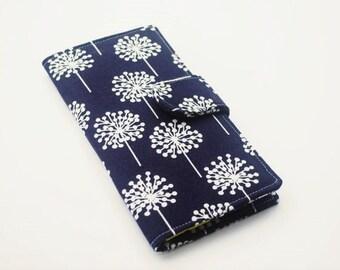 Womens Clutch Wallet, Modern Dandelion Wallet, Vegan Wallet, Navy and Green