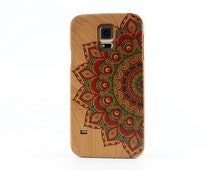 Samsung Galaxy S5 case Natural Cherry Wood Painted Mandala Galaxy S5 cover - NWS5004