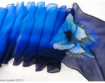 "Butterfly silk scarf. 10""x58"" chiffon silk. Swallowtail Butterfly scarf. Painted silk scarf. Hand painted silk scarves. Turquoise Silk Scarf"
