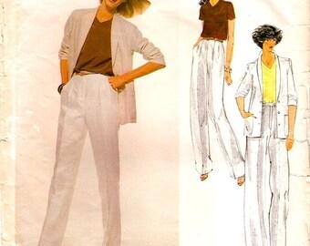 Great Vintage 1970s Vogue American Designer 1885 Calvin Klein Jacket, Wide Leg Pants and Top Sewing Pattern B32.5 W25