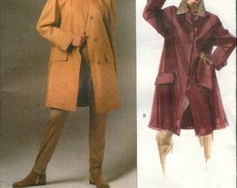 Great Uncut Vintage 1990s Vogue American Designer 2530 Calvin Klein A-Line Coat Sewing Pattern Size 12-14-16