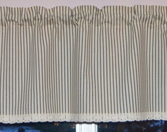 Stripe Ticking . Kitchen Valance . Cafe Curtains . Black and Cream  with Crochet Lace Trim.  Handmade by Pretty Little Valances