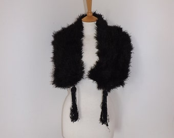 Vintage 1920s black real ostrich feather flapper stole wrap cape with tassel detail