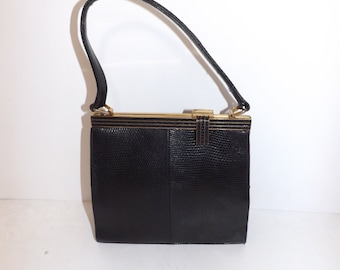 Vintage 1950s real black lizard skin leather handbag grab bag by Jane Shilton interesting fastener