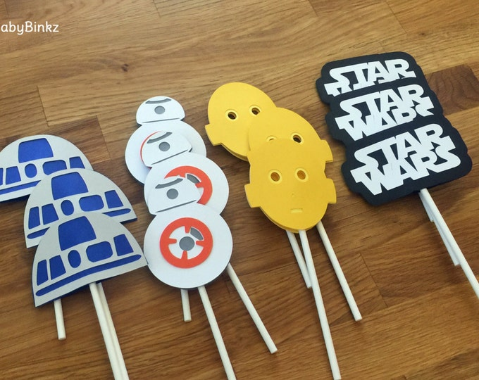 Cupcake Toppers: The Star Wars Droid Set - party wedding birthday jedi force BB8 R2D2 CP3O Rey the force awakens decoration