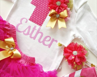 Hot Pink and Gold First Birthday Baby Girl's Personalized Bodysuit Party Outfit