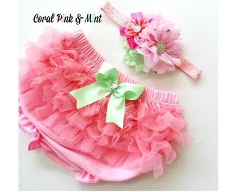 Coral Pink and Mint  Chiffon Ruffle Bloomers and Matching Headband Baby Gift 1st birthday