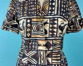 1950s Tiki Tribal Blouse medium large