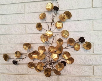 C Jere Signed Brass and Bronze Lily Pad and Flower Wall Sculpture 1969 Mid Century Modern