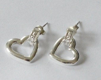 SALE Vintage Sterling Silver Heart LOVE Pierced Dangle Earrings
