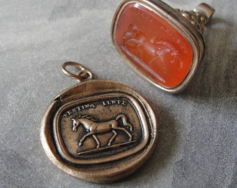 Horse Wax Seal Charm - antique wax seal jewelry with Latin motto Festina Lente - equestrian