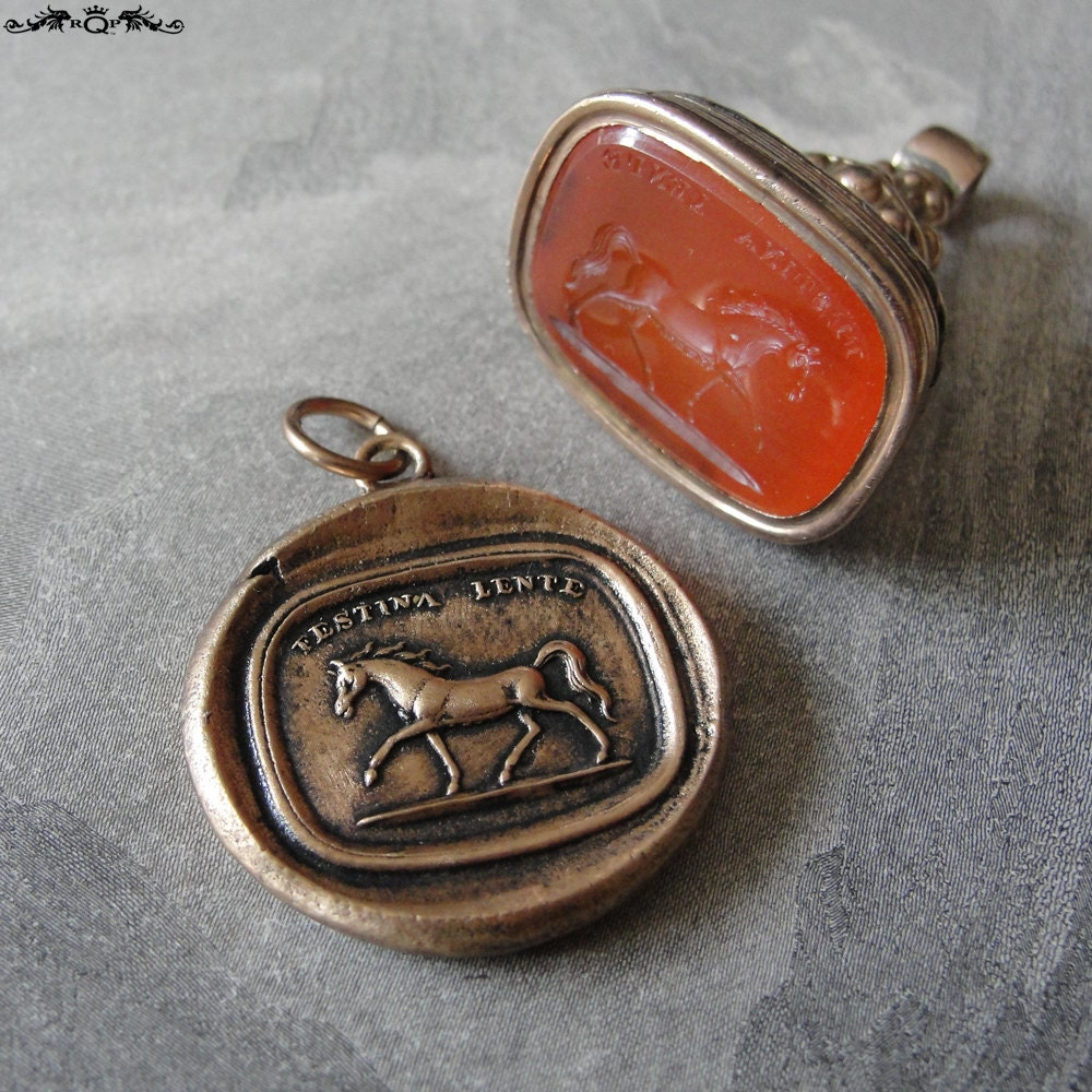 wax seal charm antique wax seal jewelry by rqpstudio