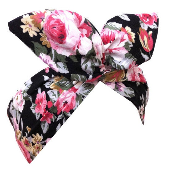 Black with Pink Vintage Floral Print - Pin up Wire ROCKABILLY Headband