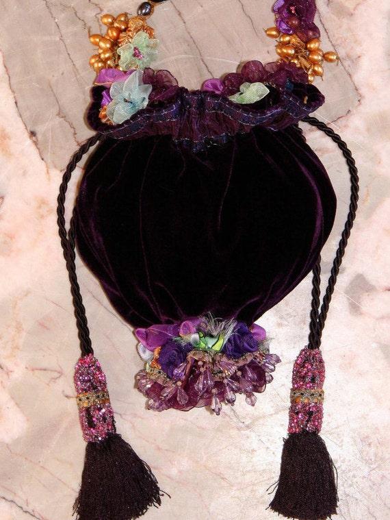 Beaded Bag, High End Designer Purple Velvet, Pucci Silk,, Red Carpet Evening Bag, Couture Purse, cross body bag