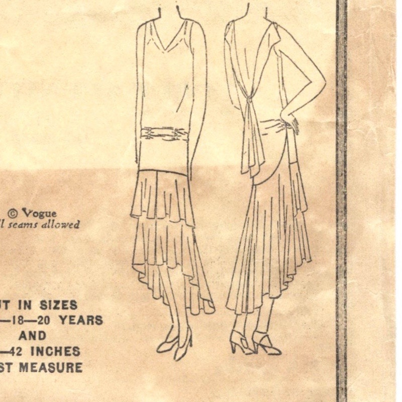 1920s evening dress pattern Vogue 9943 (1929)