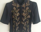 Vintage Art Deco Black Crepe Blouse with Sequin Flowers