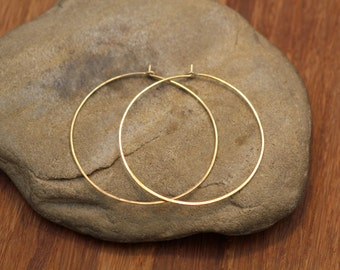 10 kt Yellow Gold Hoops - Solid Gold Hoops - Hammered Gold Hoops - Light Weight Gold Hoops