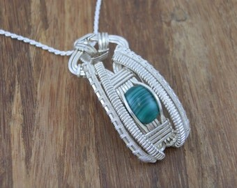 Malachite Wire Wrapped Pendant - Wire Wrapped Pendant - Malachite Pendant - Malachite Necklace - Heady Wire Wrap