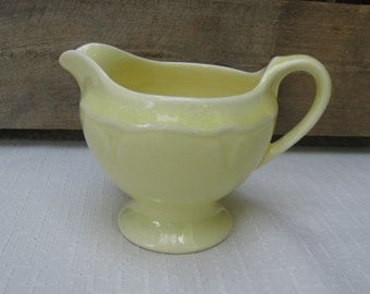 Pastel Yellow Creamer, Vintage Small Creamer, Small Pitcher, Made in USA, Ceramic Creamer, 3 1/2 Inch Creamer