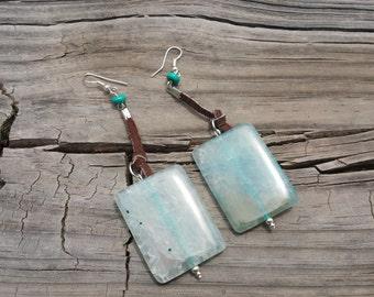 Fire agate gemstone and leather boho earrings