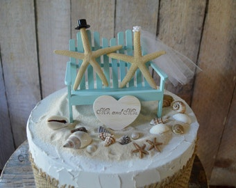 Beach weddings star fish Adirondack chair 6 inch cake aqua blue Mr and Mrs sign wedding cake topper destination bride and groom nautical