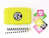 Back to School Labels Monogram Pencil Case Stickers Personalized Lunch Box Labels Custom School Supplies Kids Name Label Monogram Stickers