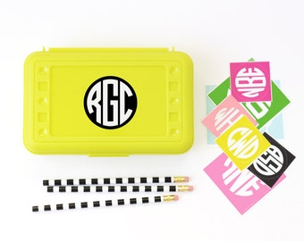 School Labels Monogram Pencil Case Stickers Personalized Lunch Box Labels Custom School Supplies Kids Name Label Monogram Stickers Custom