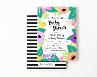 Girl Baby Shower Invitations Floral Beach Wedding Shower Invite Tropical Flower Invitations Destination Wedding Couples Shower Invites