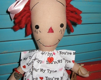 Valentine Raggedy Prim Doll With Chevron Gift Box SET *Use Coupon for 20% off*