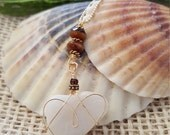 """Gold Wire Wrapped Heart Stone with Topaz Glass Beads on a 16"""" Gold Filled Ball Chain, Necklace, Simple"""