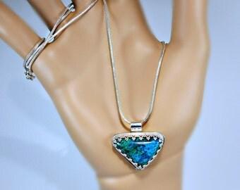 Unisex Azurite-Malachite & Sterling Silver Pendant Necklace, hand cut stone and silversmith, gift idea, blue green gem, classy, elegant