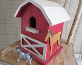 Handcrafted Wood Horse Barn/Painted Red and White/Farmhouse Building/Rustic Decor/Cabin/Cottage/Child's Play Farm Barn/Primitive Display