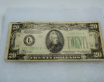 Vintage US Banknote 1934 L Twenty Dollar Bill Collectible Paper Money Green Seal Vintage Currency DanPickedMinerals