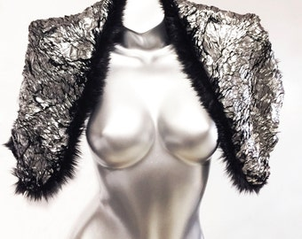 Vogue - Play in Style - Soft Gunmetal Foiled Faux Fur Shrug - Reversible to solid Black Faux Mink